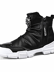 cheap -Men's Combat Boots Leather Winter Casual / British Boots Warm Booties / Ankle Boots Black / White