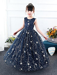 cheap -A-Line Floor Length Party / Pageant Flower Girl Dresses - Tulle / Sequined Sleeveless Jewel Neck with Embroidery / Tiered / Paillette