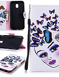 cheap -Case For Samsung Galaxy J3 (2017) Wallet / Card Holder / Shockproof Full Body Cases Butterfly / Sexy Lady Hard PU Leather