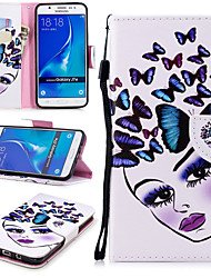 cheap -Case For Samsung Galaxy J7 (2016) Wallet / Card Holder / Shockproof Full Body Cases Butterfly / Sexy Lady Hard PU Leather