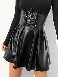 cheap -Women's Daily / Going out Sexy / Street chic PU Mini Swing Skirts - Solid Colored Lace up / Zipper High Waist Black S M L