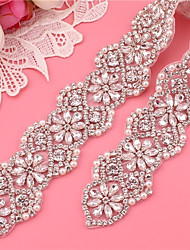 cheap -Silver plated steel Wedding / Party / Evening Sash With Imitation Pearl / Appliques / Crystals / Rhinestones Women's Sashes
