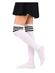 Недорогие -Жен. Средней плотности Чулки - Однотонный Белый Черный Один размер