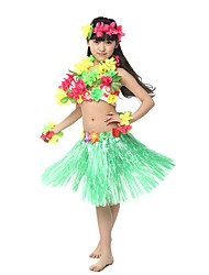 cheap -Hawaiian Hula Dancer Adults' Girls' Ethnic Vintage Inspired Hawaiian Costumes Grass Skirt For Linen / Cotton Blend Polyster Floral Christmas Halloween Carnival Skirts Top