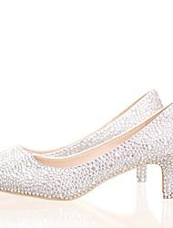 cheap -Women's PU(Polyurethane) Spring &  Fall Sweet Wedding Shoes Kitten Heel Pointed Toe Rhinestone / Sparkling Glitter White