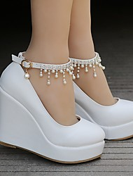 cheap -Women's Wedding Shoes Wedge Heel Round Toe Imitation Pearl / Buckle / Tassel PU Classic / Sweet Spring & Summer / Fall & Winter White / Party & Evening