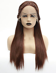 cheap -Synthetic Lace Front Wig Havana Twist Middle Part Lace Front Wig Long Medium Auburn Synthetic Hair 22-26 inch Women's Heat Resistant Women Middle Part Brown / Glueless