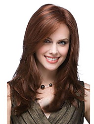 cheap -Straight Loose Curl Side Part Wig Medium Length Brown / Burgundy Synthetic Hair 53 inch Women's Women Brown