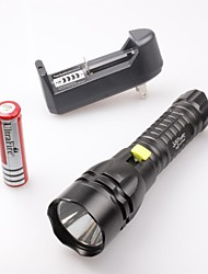 cheap -LED Flashlights / Torch Waterproof 1500 lm LED LED 3 Emitters 5 Mode with Battery and Charger Waterproof Camping / Hiking / Caving Everyday Use Diving / Boating Black / Aluminum Alloy