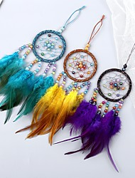 cheap -Boho Dream Catcher Handmade Gift Wall Hanging Decor Art Ornament Craft Feather Bead 30*7cm for Kids Bedroom Wedding Festival