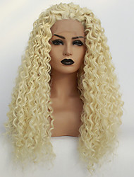 cheap -Synthetic Lace Front Wig Kinky Curly Middle Part Lace Front Wig Blonde Long Light Blonde Synthetic Hair 22-26 inch Women's Soft Heat Resistant Women Blonde / Glueless