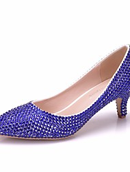 cheap -Women's PU(Polyurethane) Spring &  Fall Sweet Wedding Shoes Kitten Heel Pointed Toe Rhinestone Royal Blue