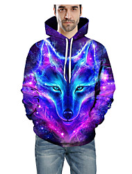 cheap -Men's Hoodie 3D Hooded Basic Hoodies Sweatshirts  Long Sleeve Purple