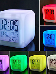 cheap -Multifunction 7 Color Change LED Digital Alarm Clock With Date Alarm Thermometer Desktop Table Cube Alarm Clock Night Glowing