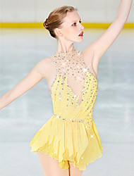cheap -21Grams Figure Skating Dress Women's Girls' Ice Skating Dress Yellow Open Back Spandex Stretch Yarn High Elasticity Professional Competition Skating Wear Handmade Fashion Sleeveless Ice Skating