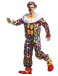 cheap -Burlesque Clown Circus Party Costume Adults' Men's Funny & Reluctant Halloween Christmas Halloween Carnival Festival / Holiday Fabric Yellow Carnival Costumes Plaid / Checkered