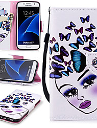 cheap -Case For Samsung Galaxy S7 Wallet / Card Holder / Shockproof Full Body Cases Butterfly / Sexy Lady Hard PU Leather