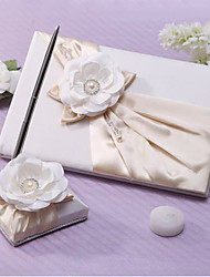 cheap -Guest Book / Pen Set Wedding With Faux Pearl / Satin Flower / Crystal / Rhinestone Guest Book / Pen Set