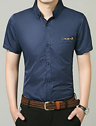cheap -Men's Daily Business Shirt - Solid Colored Button Down Collar Navy Blue / Short Sleeve / Summer