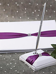 cheap -Guest Book / Pen Set Wedding With Embroidery Guest Book / Pen Set