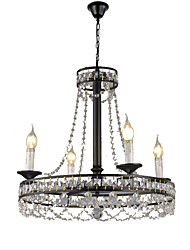 cheap -QINGMING® 4-Light Mini Candle Chandelier Uplight Painted Finishes Metal Crystal, Mini Style 110-120V / 220-240V