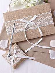 cheap -Guest Book / Pen Set Wedding With Ribbon Bow / Lace / Ruche Guest Book / Pen Set