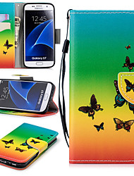 cheap -Case For Samsung Galaxy S7 Wallet / Card Holder / Shockproof Full Body Cases Butterfly Hard PU Leather