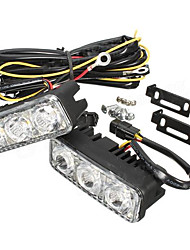 cheap -Pair LED Car White DRL & Amber Turn Signal Lamp Daytime Driving Running Light