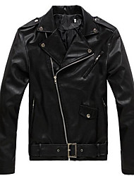 cheap -Men's Shirt Collar Faux Leather Jacket Regular Solid Colored Daily Long Sleeve Faux Leather Black M / L / XL / Slim