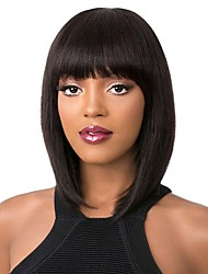 cheap -Remy Human Hair Lace Front Wig Bob style Brazilian Hair Yaki Straight Natural Wig 130% 150% 180% Density Natural Thick with Clip Women's Medium Length Human Hair Lace Wig WoWEbony