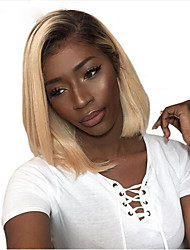 cheap -Remy Human Hair Lace Front Wig Bob Wendy style Brazilian Hair Natural Straight Blonde Wig 130% Density Fashionable Design Soft Sexy Lady Cool Comfortable Women's Short Human Hair Lace Wig PERFE