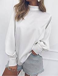 cheap -Women's Daily Basic Cotton Slim Blouse - Solid Colored Ruffle / Vintage Style / Fashion Crew Neck Black / Spring / Summer / Fall / Winter