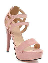 cheap -Women's Suede Spring Sweet / Minimalism Heels Stiletto Heel Open Toe Black / Beige / Pink