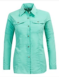 cheap -Women's Solid Color Hiking Shirt / Button Down Shirts Long Sleeve Outdoor Breathable Quick Dry Back Venting Design Convert to Short Sleeves Shirt Top Spring, Fall, Winter, Summer Microfiber Acrylic