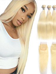 cheap -4 Bundles Brazilian Hair Silky Straight Unprocessed Human Hair 450 g Hair Weft with Closure 30 Inches Blonde Human Hair Weaves Best Quality Thick Unprocessed Human Hair Extensions / Full Head Set
