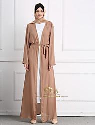 cheap -Adults' Women's A-Line Slip Dress Belt Ethnic Arabian Dress Abaya Kaftan Dress Jalabiya Muslim Dress Maxi Dresses For Halloween Daily Wear Festival Beaded Linen Solid Colored Long Length Dress 1 Belt
