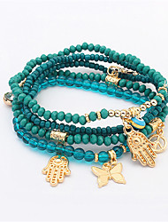 cheap -Women's Charm Bracelet Bead Bracelet Beaded Butterfly Anchor Ethnic Fashion Resin Bracelet Jewelry Black / Red / Green Hamsa Hand For Daily