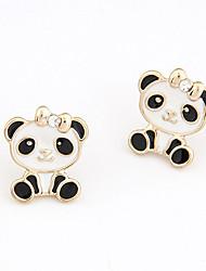 cheap -Women's Stud Earrings Classic Panda Asian Fashion Cute Imitation Diamond Earrings Jewelry White / Pink For Gift Daily 1 Pair