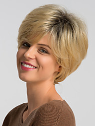 cheap -Human Hair Wig Short Natural Straight Pixie Cut Dark Gray Mixed Color Fashionable Design Easy dressing Comfortable Capless Women's Black / Grey Black / Blonde 10 inch / Ombre Hair / Natural Hairline