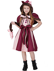 cheap -Alice in Wonderland Cosplay Costume Flower Girl Dress Kid's Girls' A-Line Slip Dresses Christmas Halloween Carnival Festival / Holiday Woolen Polyster Pink Carnival Costumes Cat / Shawl / Belt / Tail
