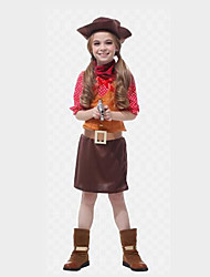 cheap -Westworld West Cowboy Cowboy Costumes Flower Girl Dress Kid's Girls' A-Line Slip Outfits Christmas Halloween Carnival Festival / Holiday Polyster Coffee Carnival Costumes Polka Dot / Top / Scarf