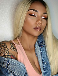 cheap -Virgin Human Hair 360 Frontal 13x6 Closure Wig Deep Parting Gaga style Brazilian Hair Natural Straight Blonde Wig 150% Density with Baby Hair Thick Updo with Clip With Bleached Knots Women's Medium