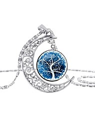 cheap -Women's Pendant Necklace Classic Tree of Life life Tree Crescent Moon Classic Chrome Rainbow Blue 42+5 cm Necklace Jewelry 1pc For Gift Going out