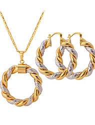 cheap -Women's Jewelry Set Two tone Ladies Two-tone Platinum Plated Gold Plated Earrings Jewelry Screen Color For Wedding Party Casual / Necklace