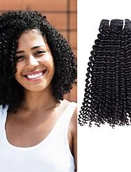 cheap -3 Bundles Kinky Curly Virgin Human Hair Headpiece Natural Color Hair Weaves / Hair Bulk Hair Care 8-28 inch Natural Color Human Hair Weaves Hot Sale Cool Lovely Human Hair Extensions