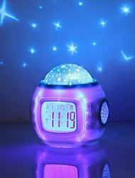 cheap -Music Starry Sky Projection Alarm Clock Snooze Digital LED Alarm Clock Calendar Thermometer Projection Light