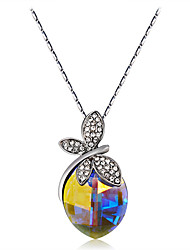 cheap -Women's Blue Crystal Pendant Necklace Figaro Butterfly Classic Fashion Elegant Silver Plated Chrome Imitation Diamond Silver 43 cm Necklace Jewelry 1pc For Evening Party Formal