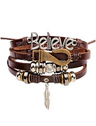 cheap -Men's Bracelet Bangles Vintage Style Stylish Leather Bracelet Jewelry Brown For Daily