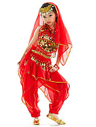 cheap -Belly Dance Outfits Girls' Training / Performance Polyester Ruching / Paillette Sleeveless Dropped Hair Jewelry