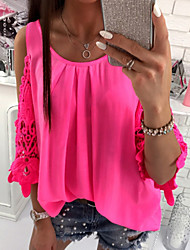 cheap -Women's Daily Blouse - Color Block Lace / Ruffle / Fashion Red / Spring / Summer / Fall